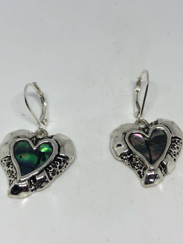 Vintage Handmade Silver Rainbow Abalone Valentine Earrings