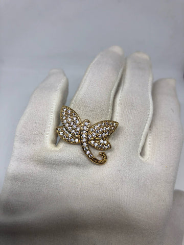 Vintage Clear Crystal Drogonfly Gold Filled  Rose Gold gothic Ring