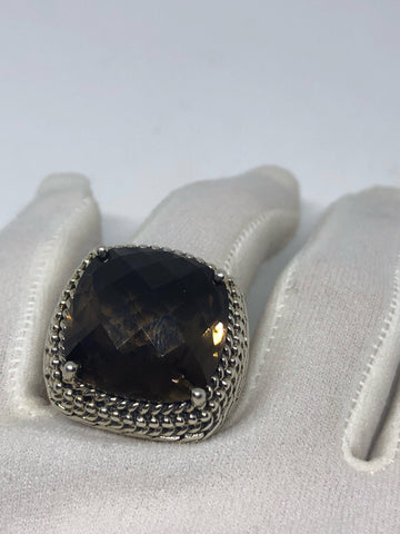 Vintage Smoky Topaz Ring 925 Sterling Silver