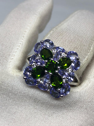 Vintage Handmade Genuine Green Chrome Diopside Tanzanite Filigree Setting 925 Sterling Silver Gothic Ring