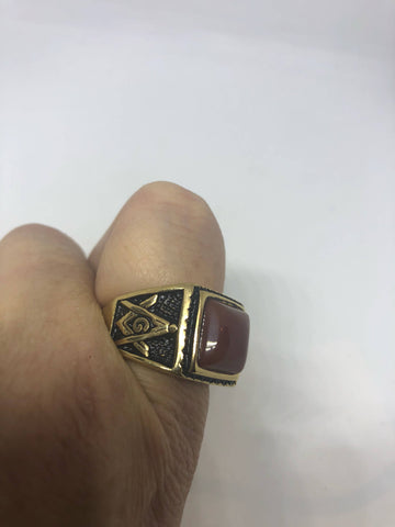 Vintage 1980's Gothic Gold Finished Genuine Red Carnelian Free Mason Men's Ring