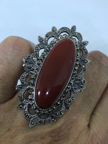 Vintage 1970's Genuine Red Jasper 925 Sterling Silver Statement Ring