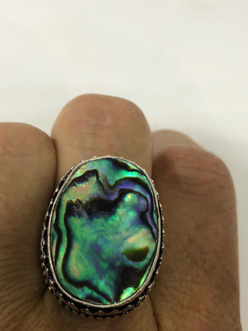 Antique Green Abalone white bronze silver ring