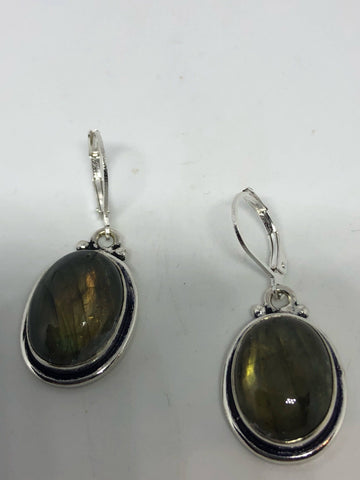 Vintage labradorite silver dangle earrings