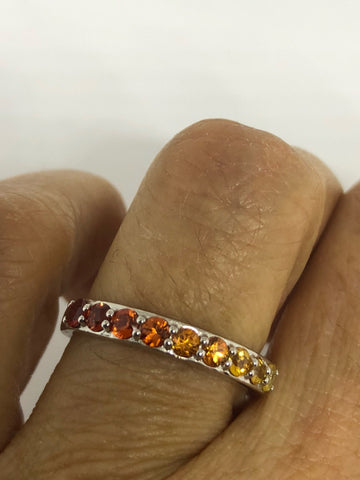 Vintage mixed genuine gemstones 925 Sterling Silver band Ring