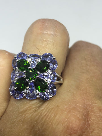 Vintage Handmade green Chrome Diopside and Tanzanite Filigree setting Sterling Silver Gothic Ring