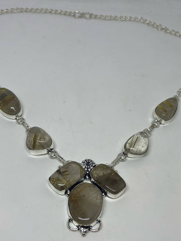 Vintage Golden Rutile Quartz silver collar necklace choker
