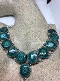 Vintage silver Genuine Green Agate Gemstone Geode necklace.