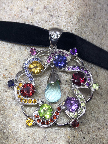 Nemesis Vintage Handmade 925 Sterling Silver Genuine mixed Colored Gemstone Antique Pendant Necklace