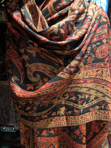 Black Red Vintage Paisley Brocade Pashmina Scarf Wrap shawl