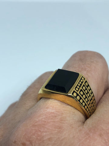 Vintage Gothic Gold Finished Stainless Steel Black Onyx Genuine Ring