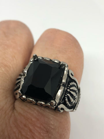 Vintage Gothic Black faceted jet stainless steel Mens Ring