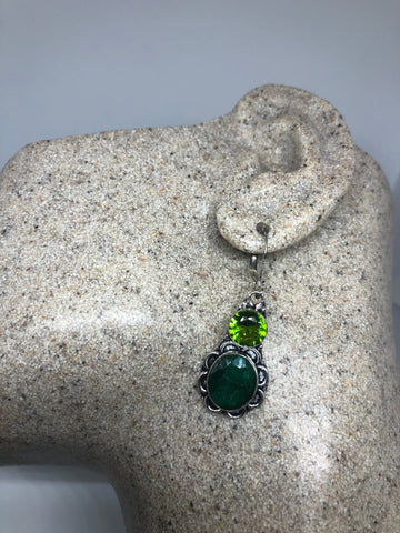 Antique vintage Green Peridot and Colr Treated Emerald Silver dangle earrings
