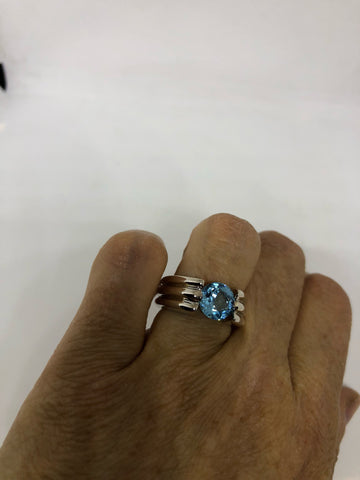 Vintage genuine blue topaz 925 sterling silver Ring