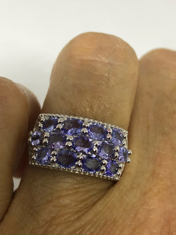 Vintage Handmade blue Tanzanite 925 Sterling Silver gothic Ring