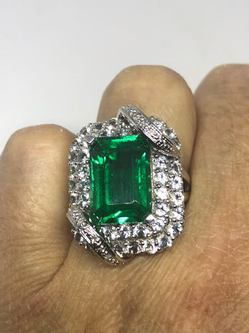 Vintage Handmade Genuine Green Flourite and white sapphire  925 Sterling Silver Deco Ring