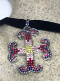 Nemesis Vintage Handmade 925 Sterling Silver white Gold Finish Genuine Garnet citrine Cross  Antique Pendant Necklace