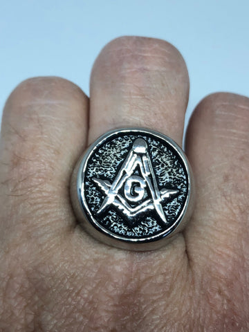 Vintage Gothic Stainless Steel Free Mason G Mens Ring