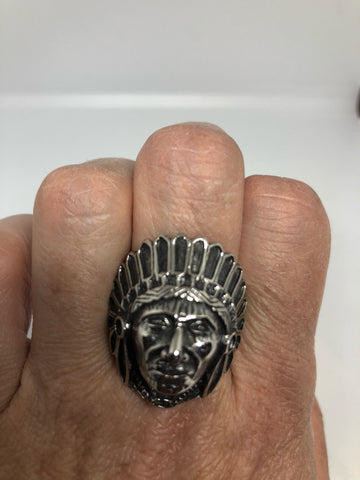 Vintage Native American Chief Silver Stainless Steel Mens Ring