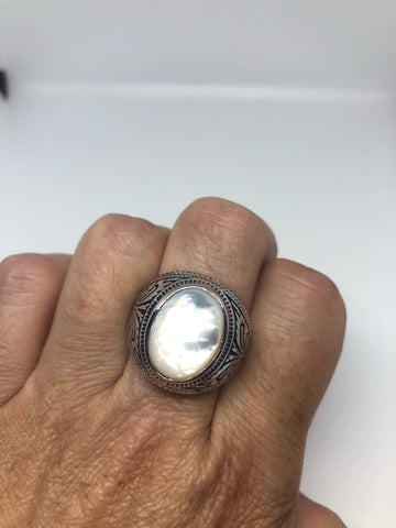Antique White mother of pearl etched sterling silver ring
