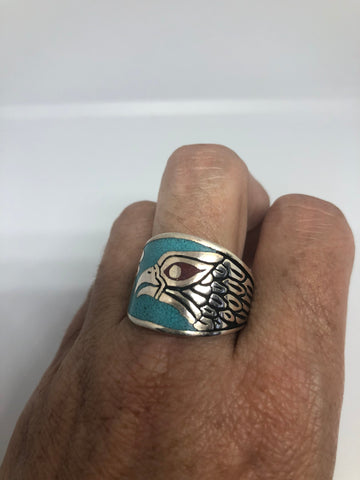 Vintage Native American Style Southwestern Turquoise Stone inlay Mens Hawk Ring
