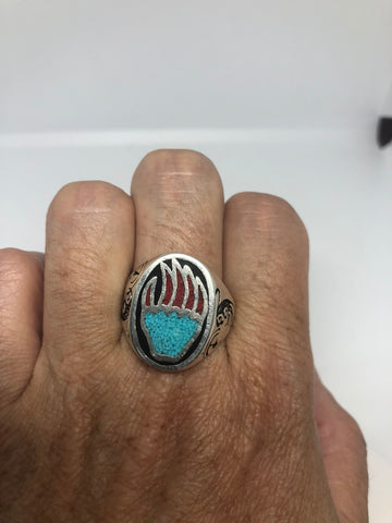 Vintage Native American Southwestern Style Turquoise Stone inlay Mens Bear Paw Ring