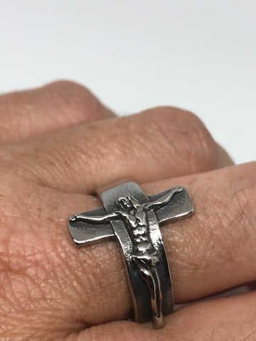 Vintage Gothic Cross Crucifix Mens Ring