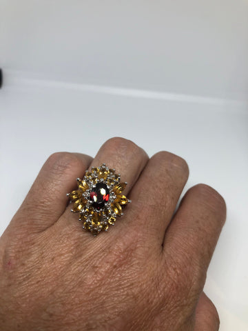 Vintage Handmade Golden Genuine Citrine and garnet 925 Sterling Silver gothic Ring