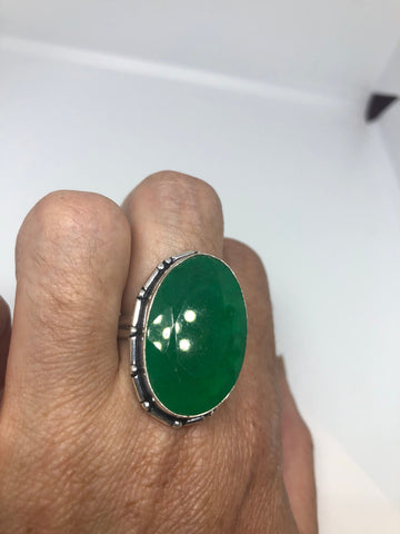 Antique Emerald Green Quartz white bronze silver ring
