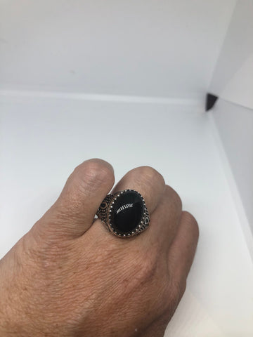 Vintage 1970 Gothic Sterling silver Genuine Black Onyx Mens Anhk Ring