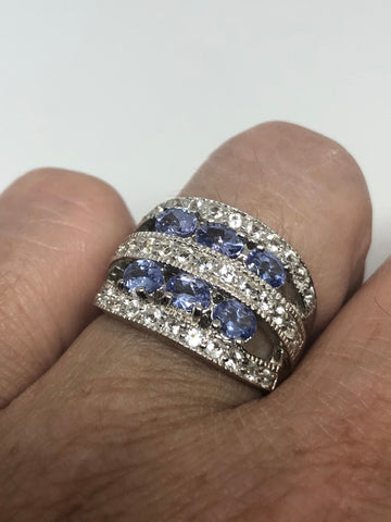 Vintage Handmade blue Tanzanite setting 925 Sterling Silver gothic Ring