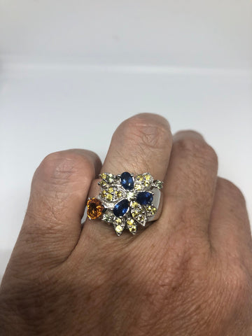 Vintage Handmade deep blue sapphire Citrine setting 925 Sterling Silver gothic Ring