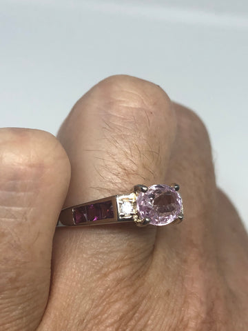 Vintage Handmade Pink Toumaline, Kunzite and White Sapphire 925 Sterling Silver gothic Ring