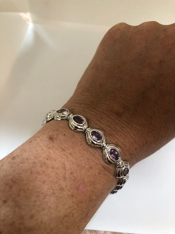 Handmade Genuine Purple Amethyst Rhodium Finished 925 Sterling Silver Tennis Bracelet