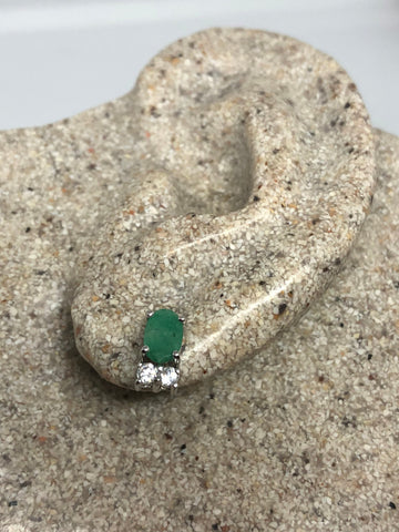 Vintage Handmade Sterling Silver genuine green emerald white sapphire stud button earrings