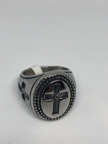 Vintage Gothic Cross Silver Stainless Steel Mens Ring