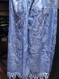 Vintage Style Deep Blue Cotton Gauze Flower Ebroidered Lace Scarf Wrap