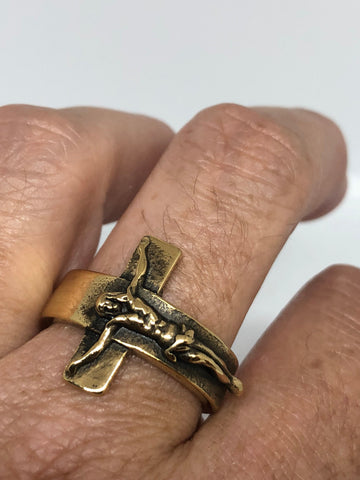 Vintage Bronze Fnish Gothic Cross Mens Ring