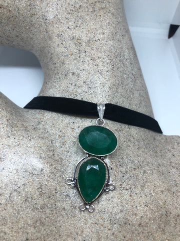 Vintage Green Chysopraise crystal Choker Pendant Necklace
