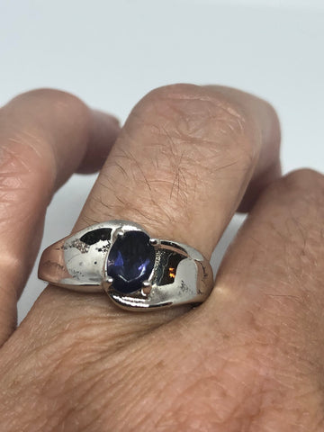 Vintage Handmade Genuine blue Iolite 925 Sterling Silver Gothic Ring