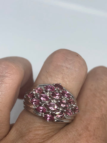 Vintage Handmade Genuine pink Tourmaline 925 Sterling Silver Ring