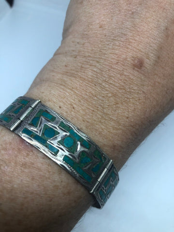 Vintage Victorian 925 Sterling Silver Inlay Turquoise Statement Bracelet