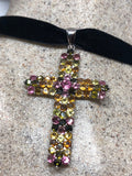 Nemesis Vintage Handmade Sterling Silver Mixed Color Tourmaline Cross Pendant