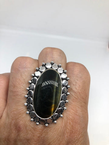 Vintage Large Blue Tiger's Eye stone silver ring