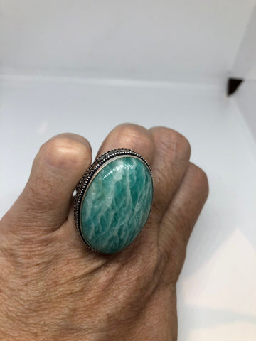 Vintage Green Amazonite Silver Ring Size 8.25