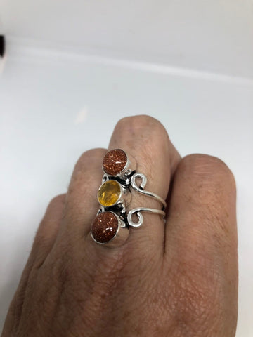 Vintage Handmade Deep Gold Sandstone and citrine setting Silver Ring