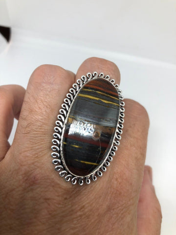 Vintage Large Blue Tiger's Eye agate  stone silver ring