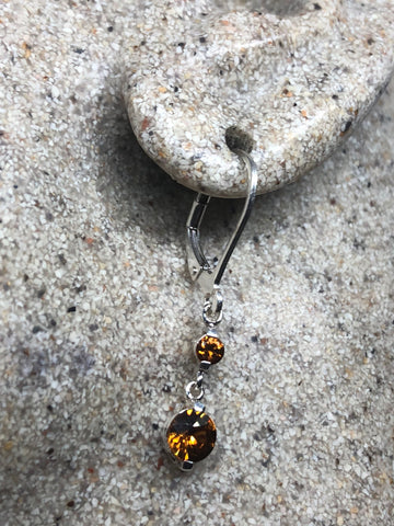 Vintage Genuine Citrine Gemstone 925 Sterling Silver Deco earrings