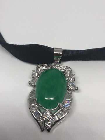 Vintage Green Jade Silver Finish necklace