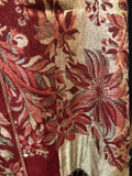 Nemesis Vintage Red cream Metallic gold Flower Brocade Pashmina Scarf Wrap